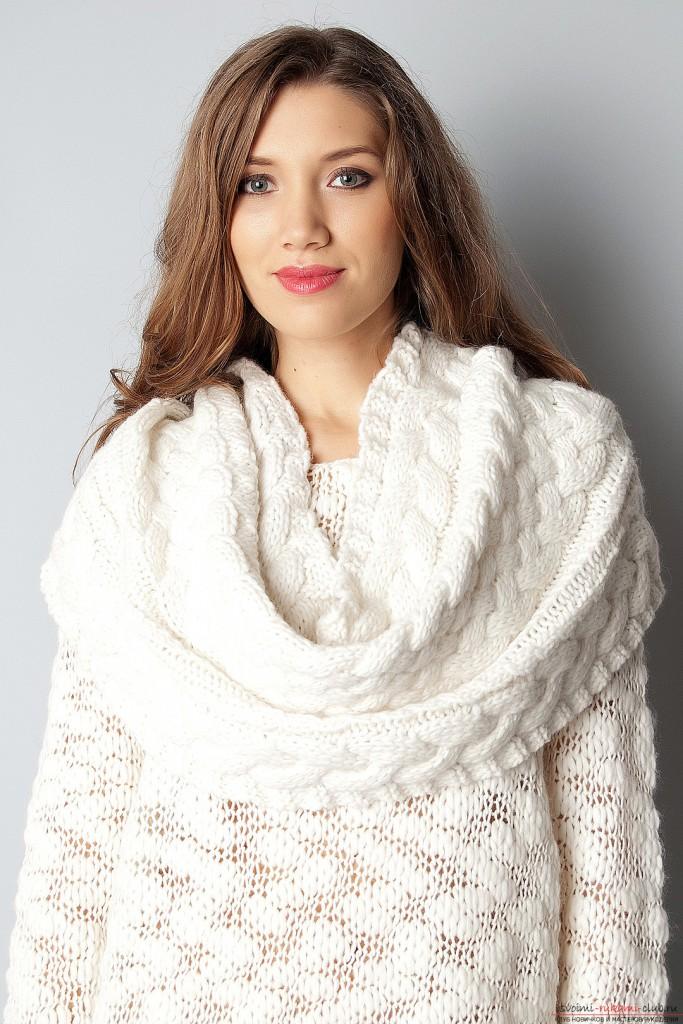 Белый шарф-снуд