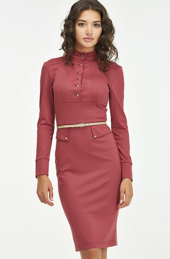 Красное деловое платье с воротником
