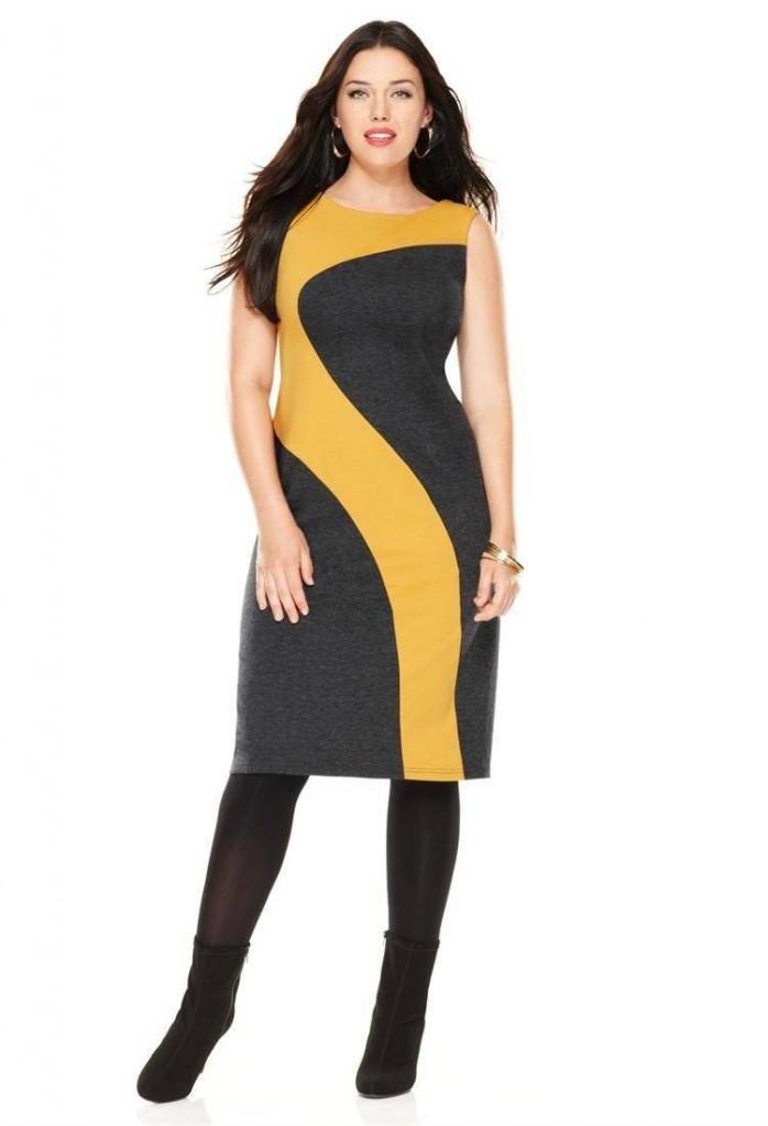 Стильное желто-серое деловое платье для полных женщин