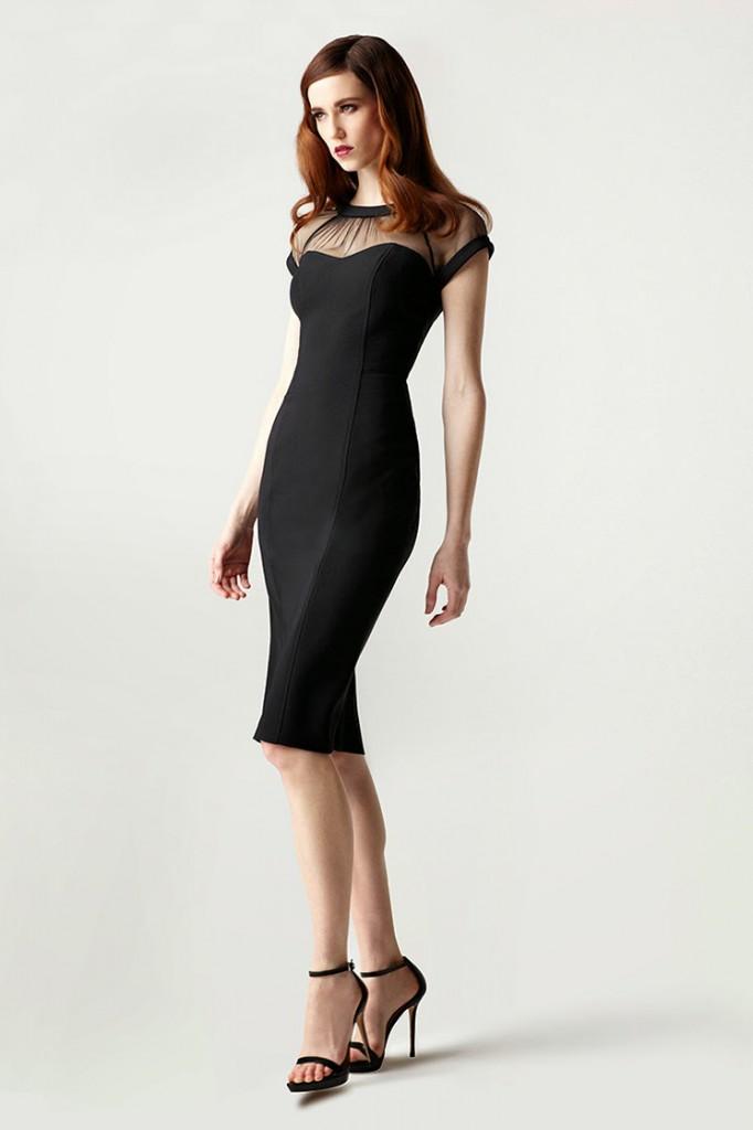 Черное офисное платье-футляр