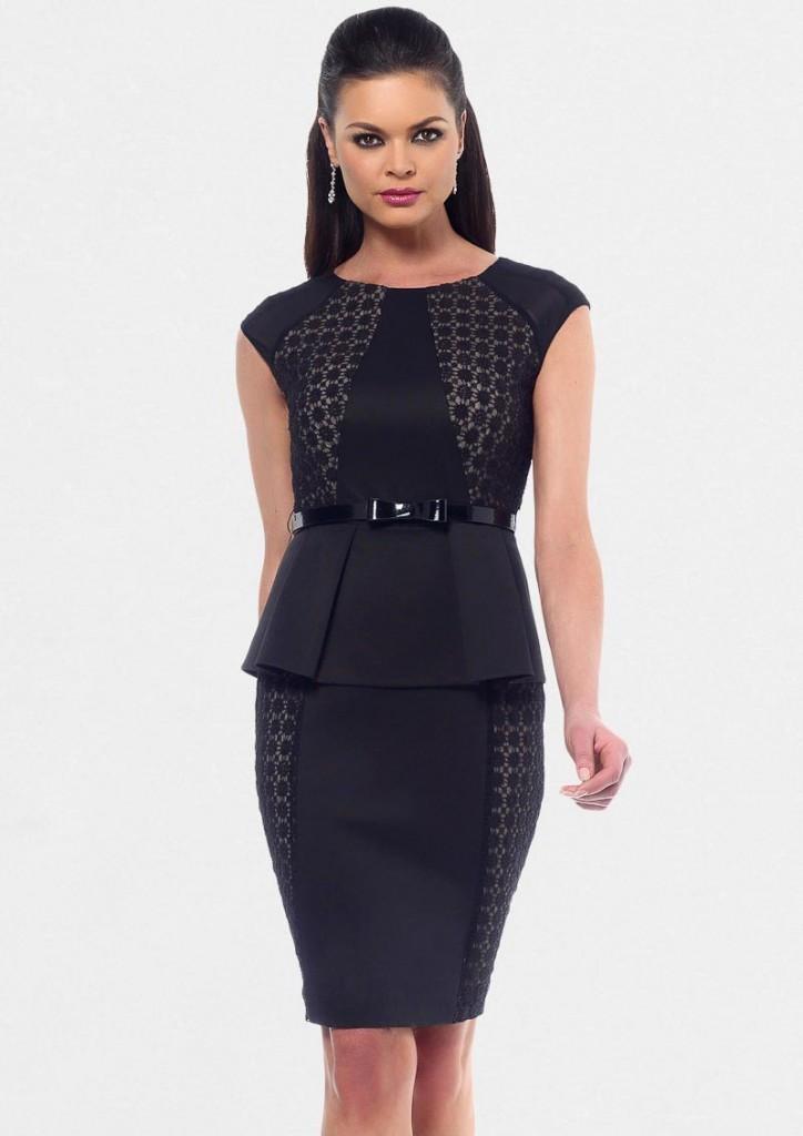 Черное офисное платье-футляр с баской