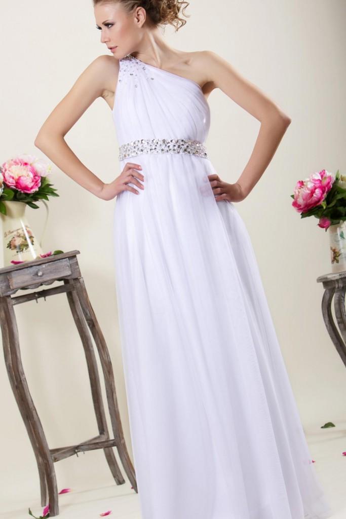 Белое платье в греческом стиле с одной бретелей