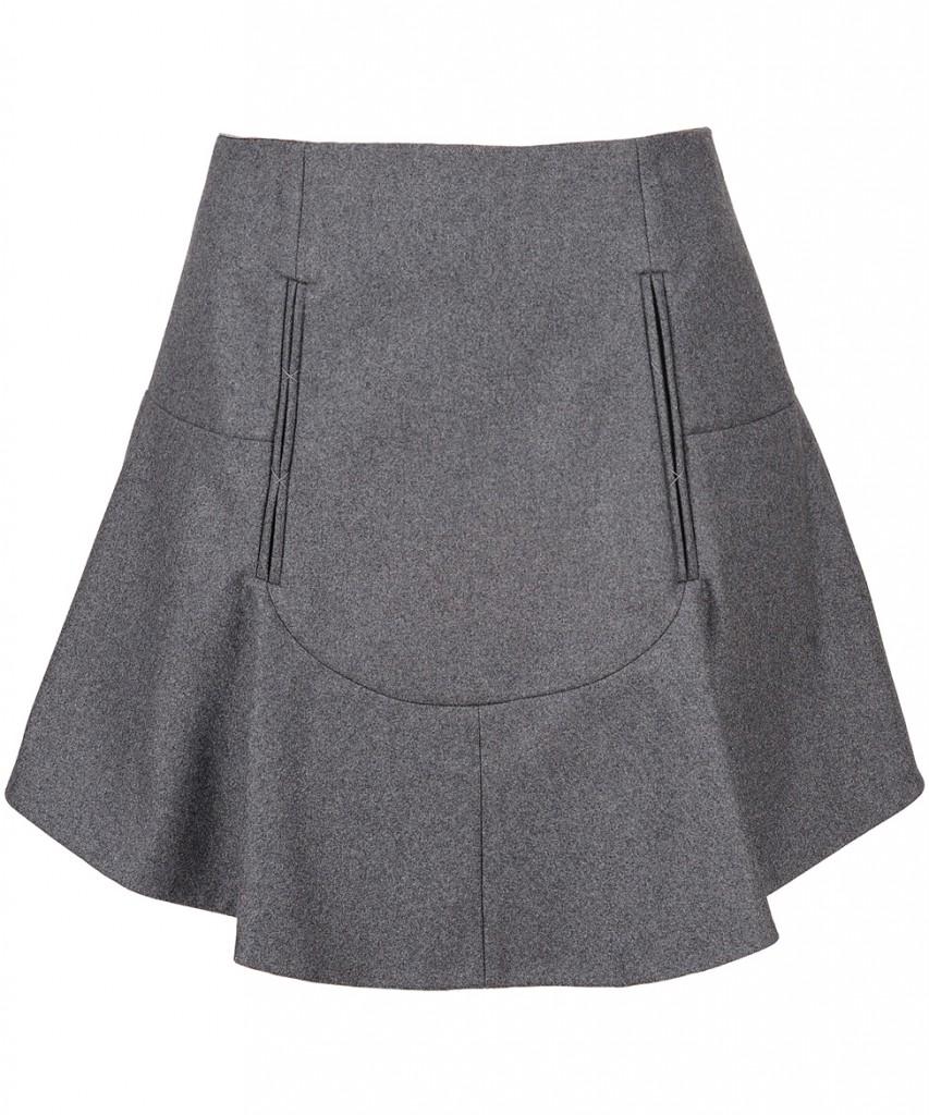 Серая юбка из драпа