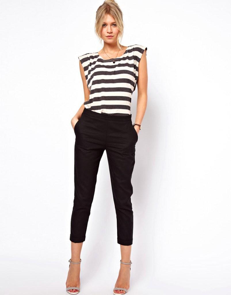 Черные брюки из льна
