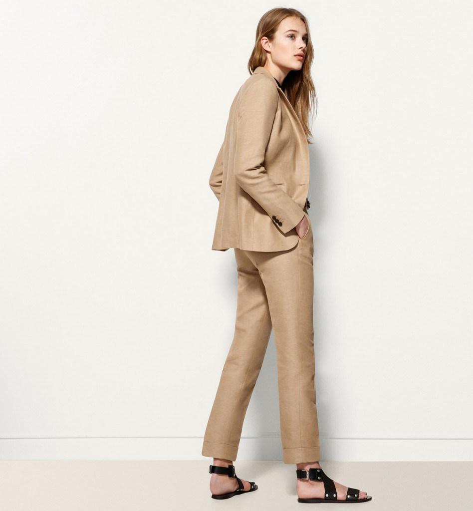 Коричневые брюки из льна