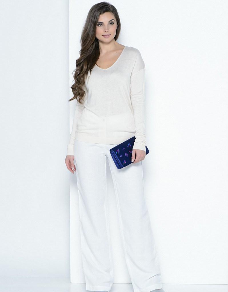 Белые брюки из льна