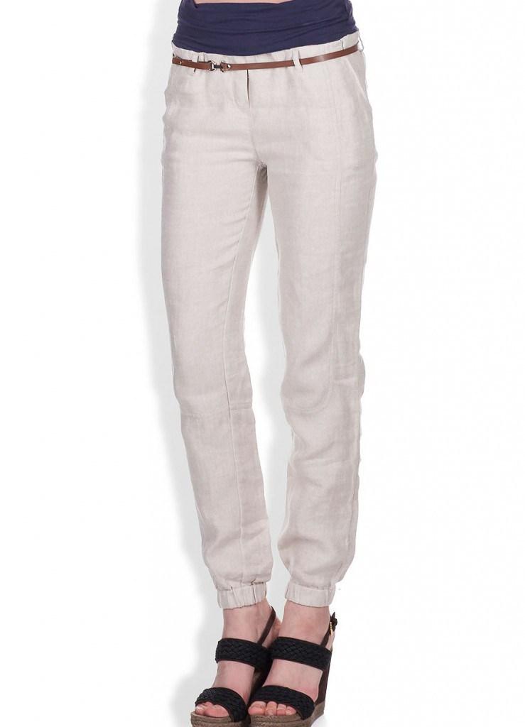 Стильные брюки из льна с резинкой