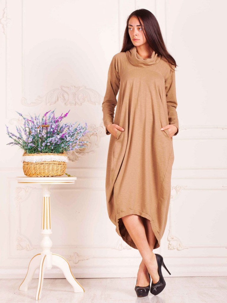 Кремовое платье балахон