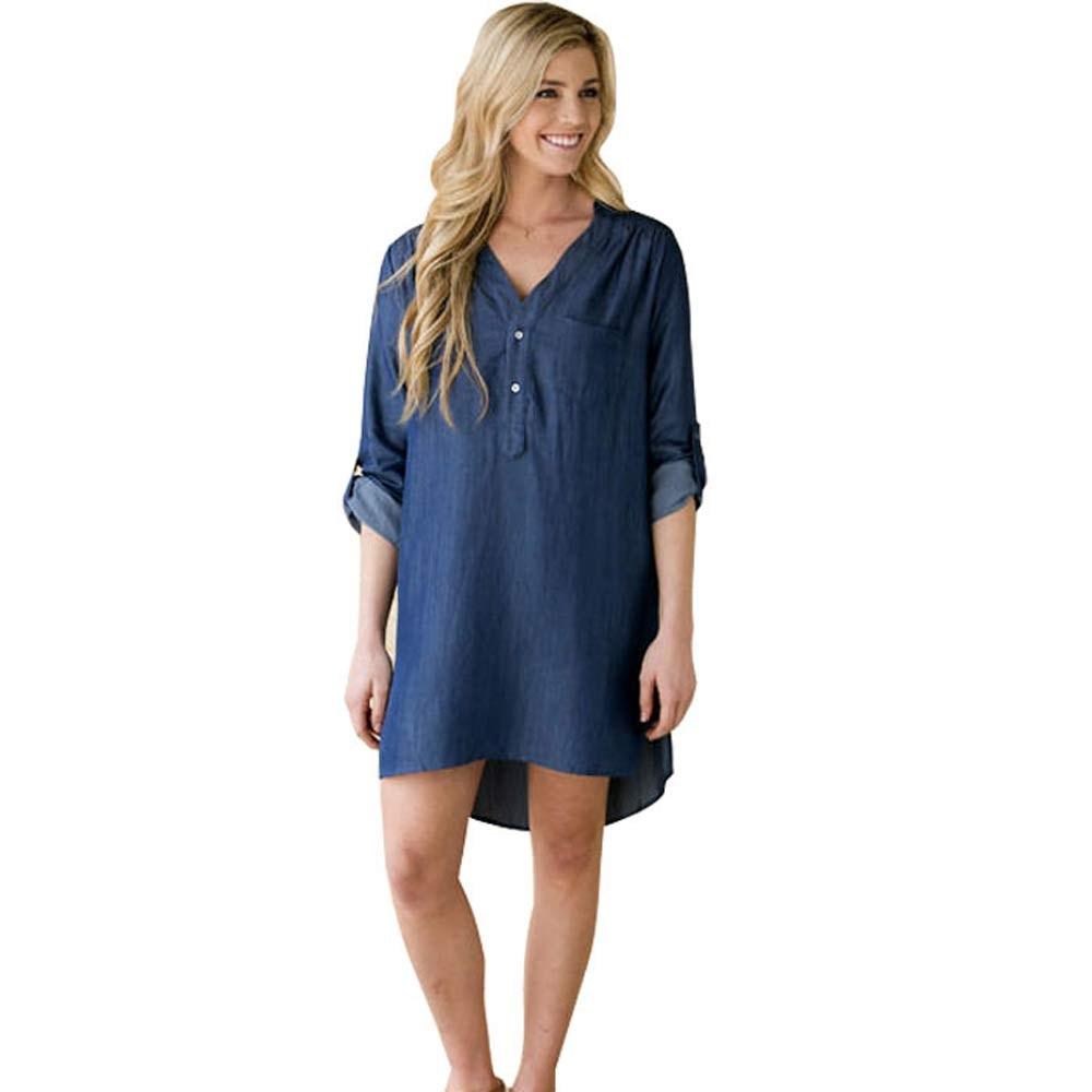 Синее платье балахон средней длины