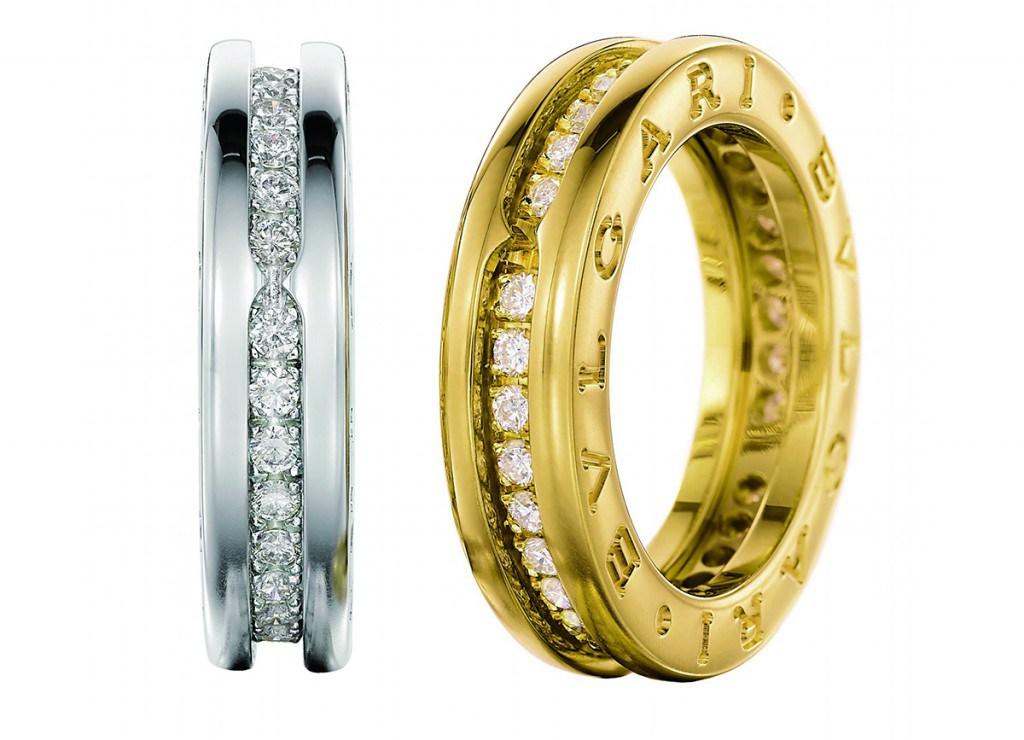 Парные золотые обручальные кольца Булгари