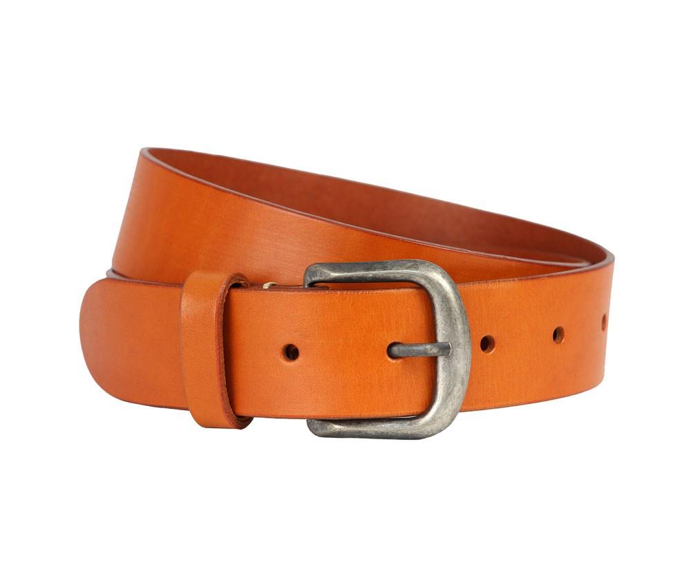 Мужской кожаный оранжевый ремень