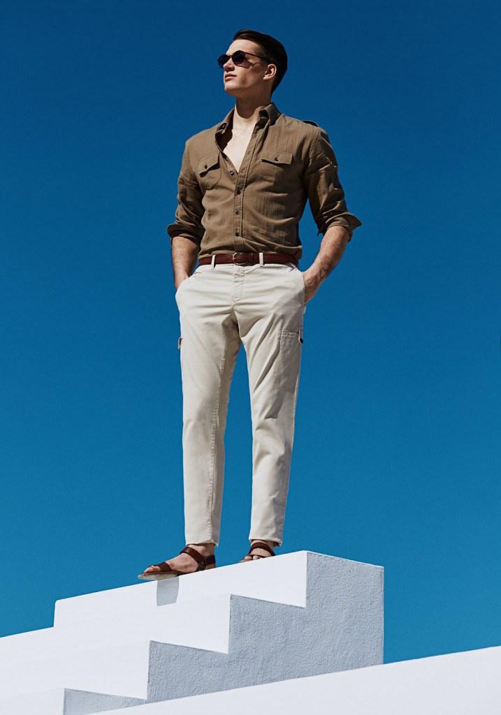 Стильный мужской образ с коричневым ремнем