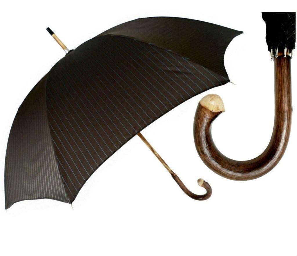 Мужской зонт с деревянной ручкой