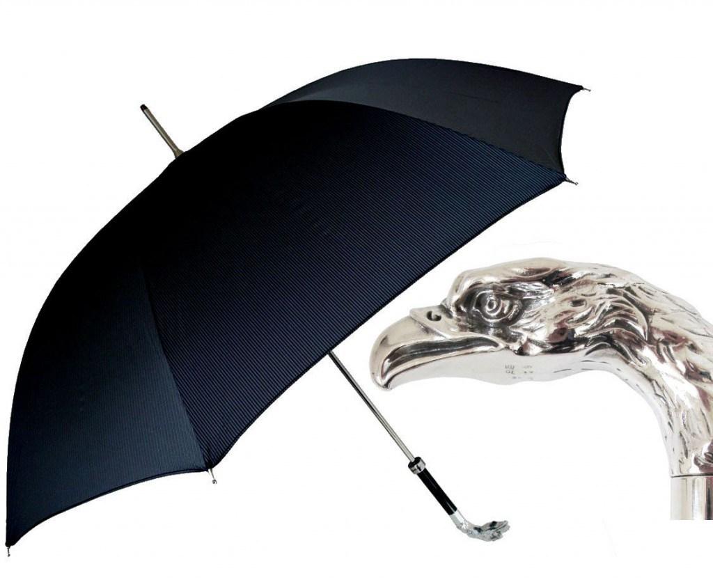 Черный мужской зонт трость