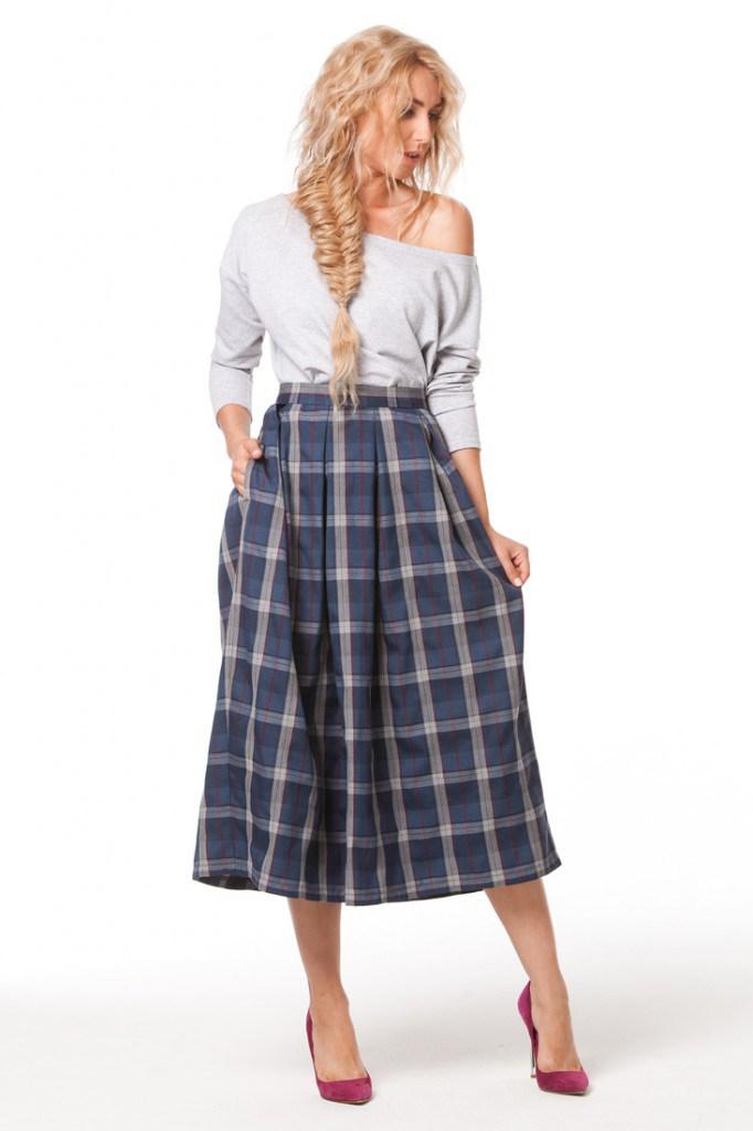 Клетчатая юбка-годе для полных девушек