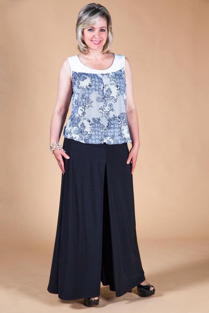 Черная юбка-брюки для полных женщин