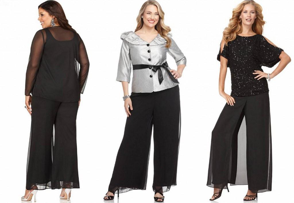 Черная юбка-брюки с прозрачными тканями для полных девушек