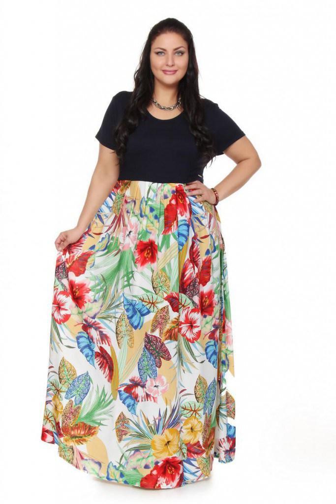 Летняя юбка с рисунком для полных девушек