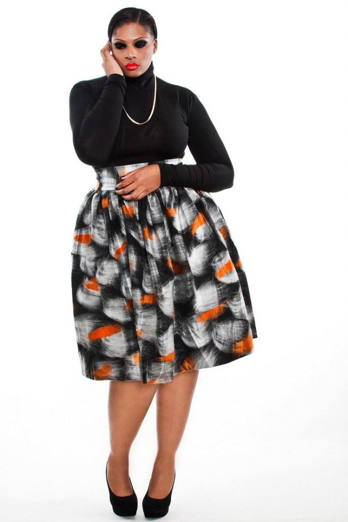 Пышная летняя юбка с принтом для полных женщин