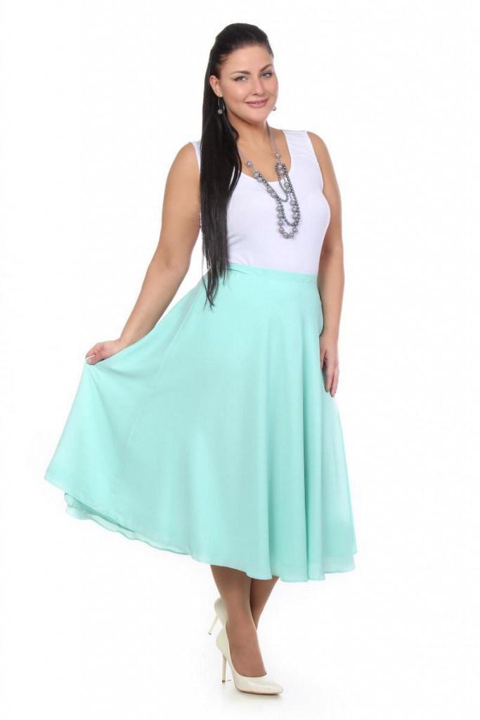 Мятная юбка для полных женщин