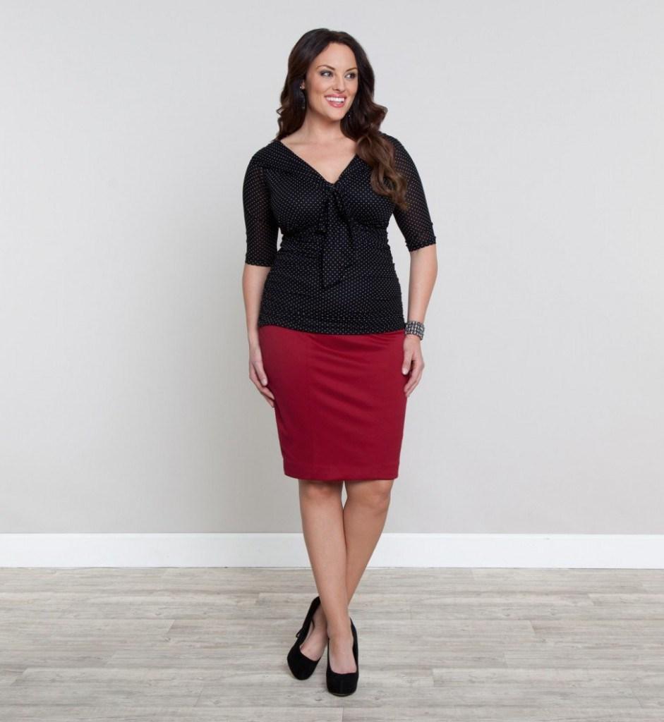 Красная юбка-карандаш для полных женщин