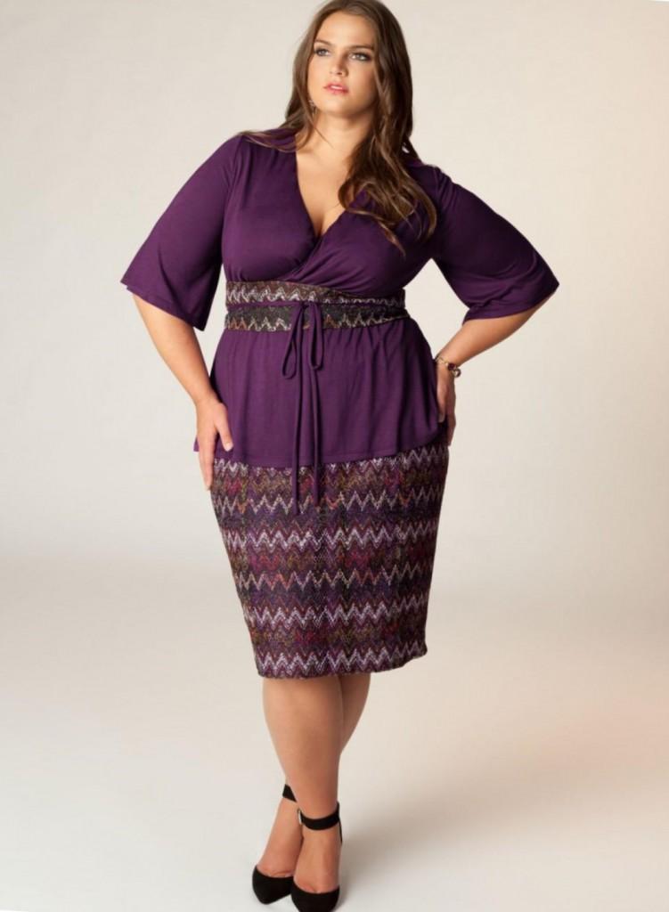 Фиолетовая юбка с принтом для полных женщин