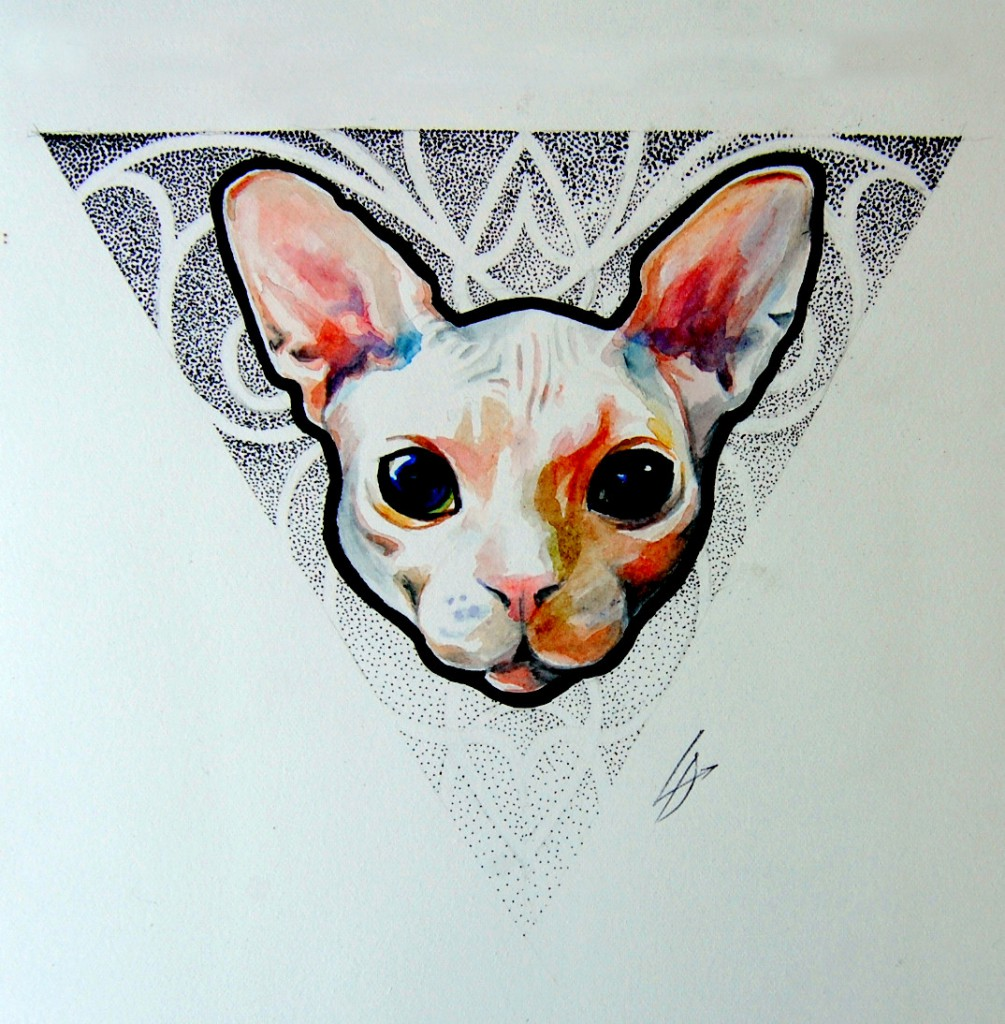 Женская татуировка кошка