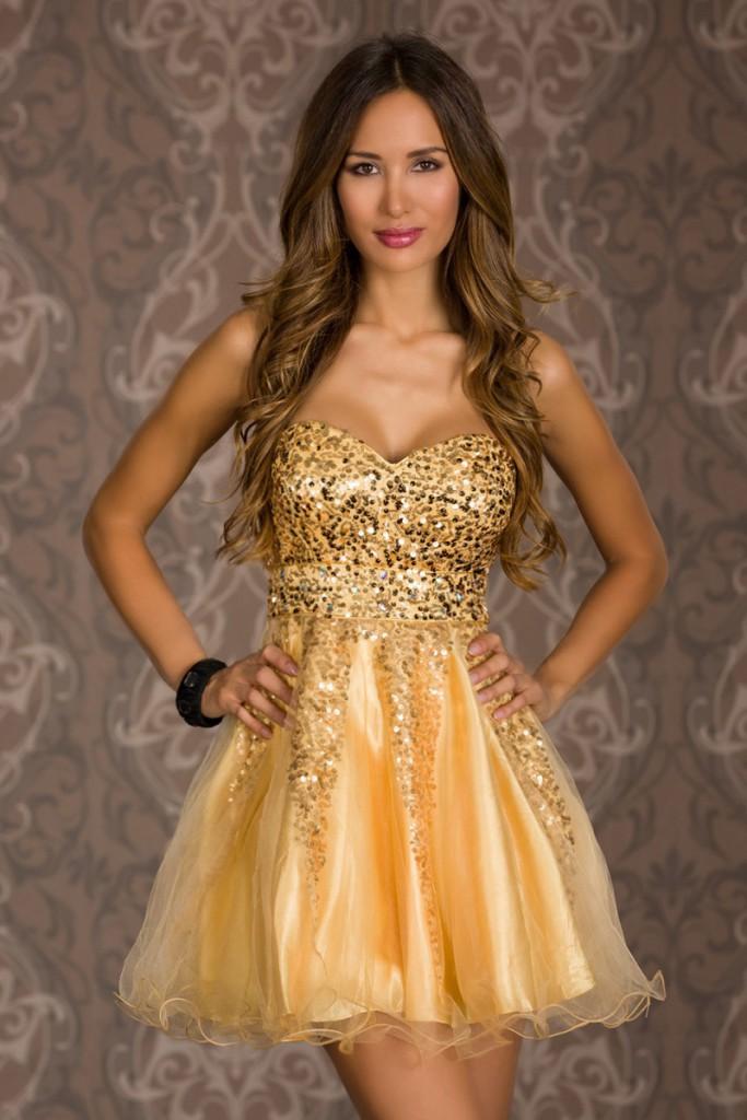 Золотистые короткие платья 220