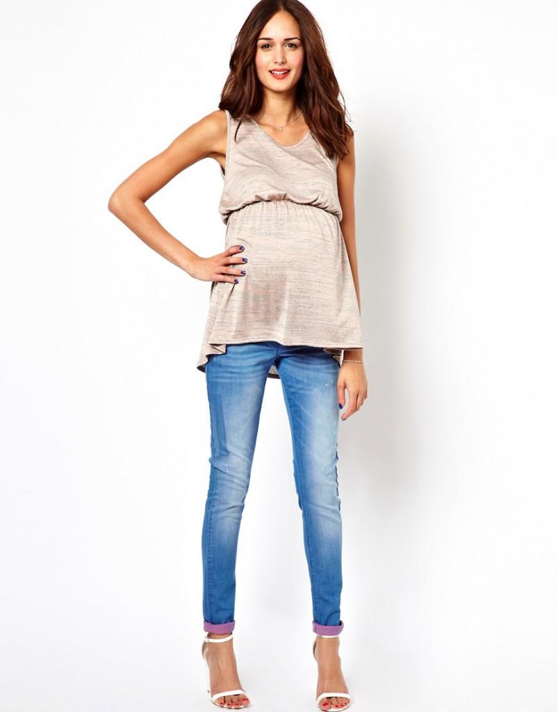 Стильные джинсы для женщин с эластической вставкой с посадкой под живот