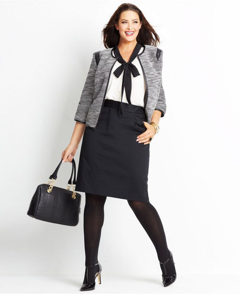 Модный костюм с черной юбкой для полных женщин