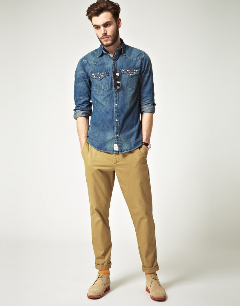 Модная мужская джинсовая рубашка с коротким рукавом