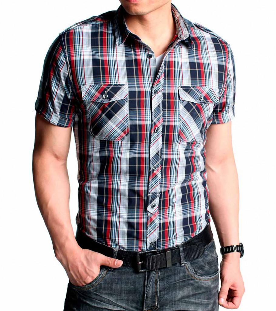 Модная мужская рубашка в клетку