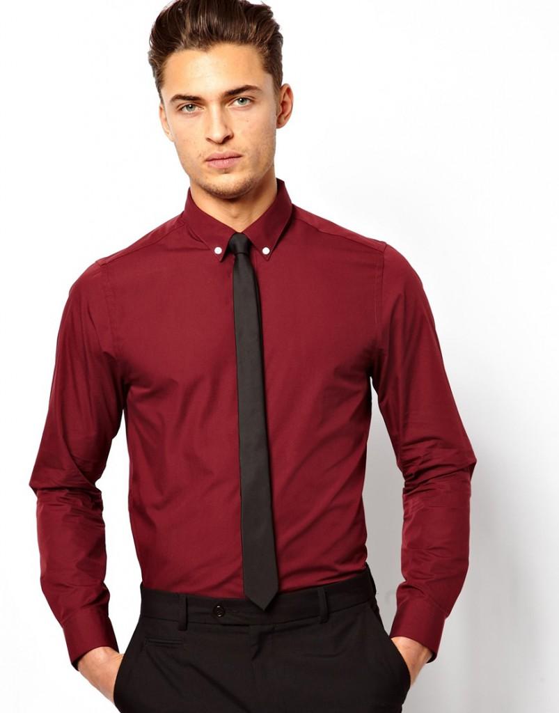Модная мужская красная рубашка