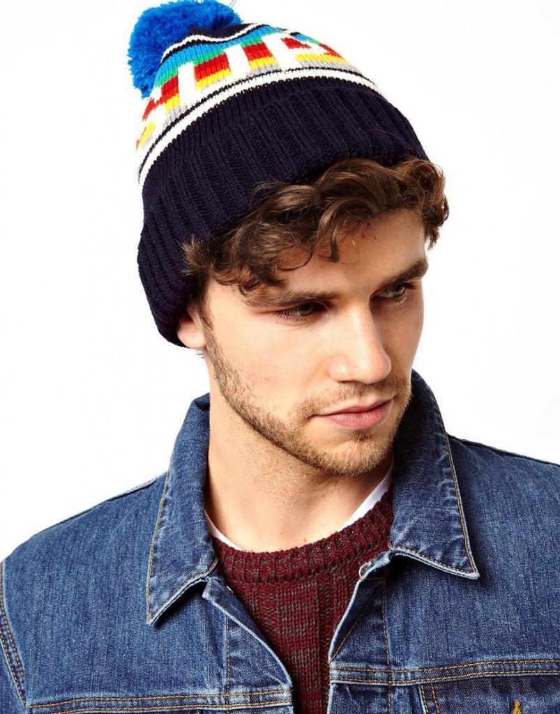 Модная разноцветная мужская шапка с помпоном