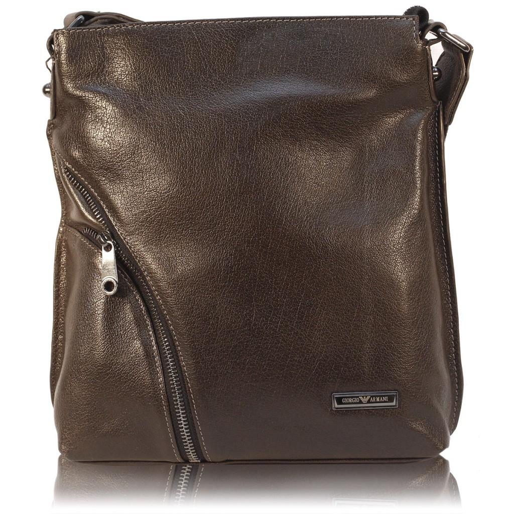 Мужская черная кожаная сумка планшет