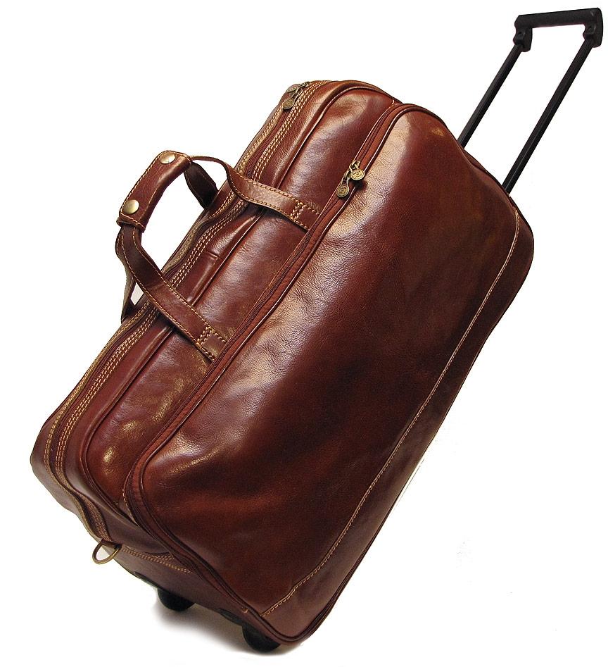 Мужская коричневая кожаная дорожная сумка