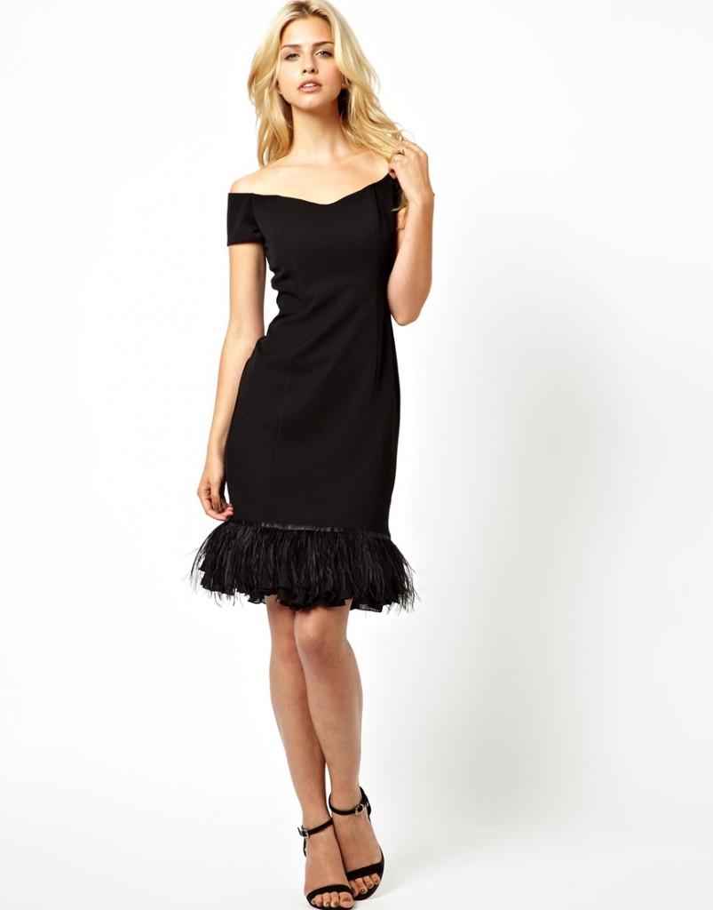 Черное ежедневное платье с перьями