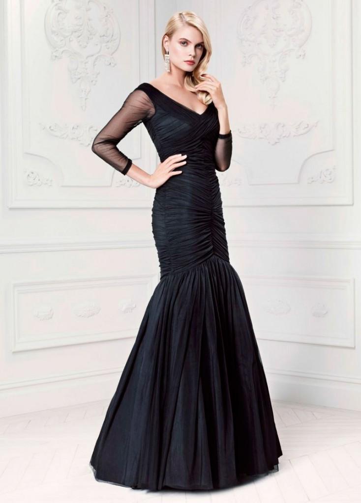 Черное длинное вечернее платье