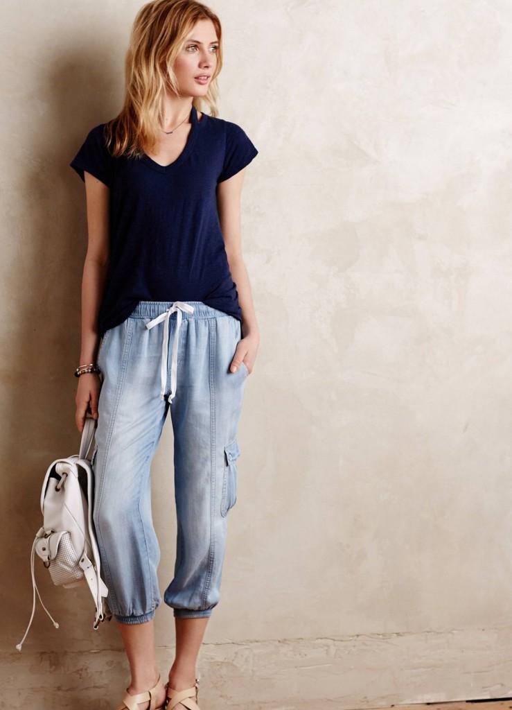 Модные джинсовые свободные бриджи