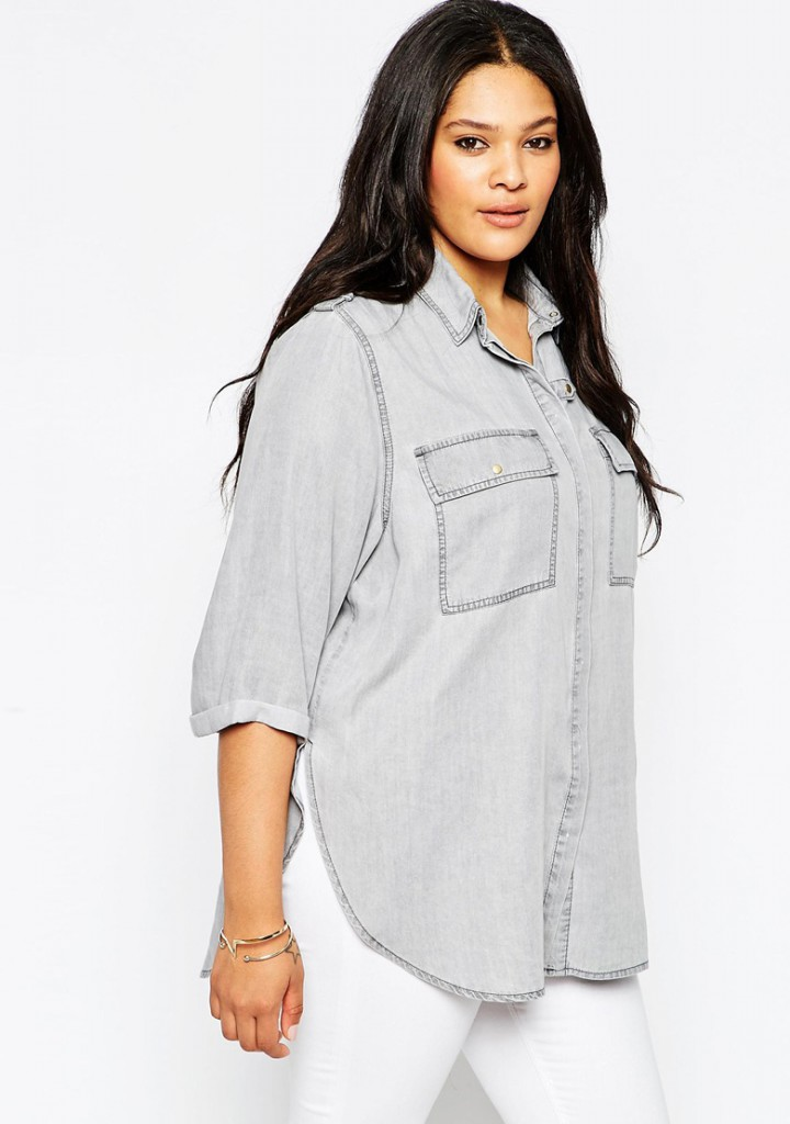 Джинсовая рубашка для полных женщин