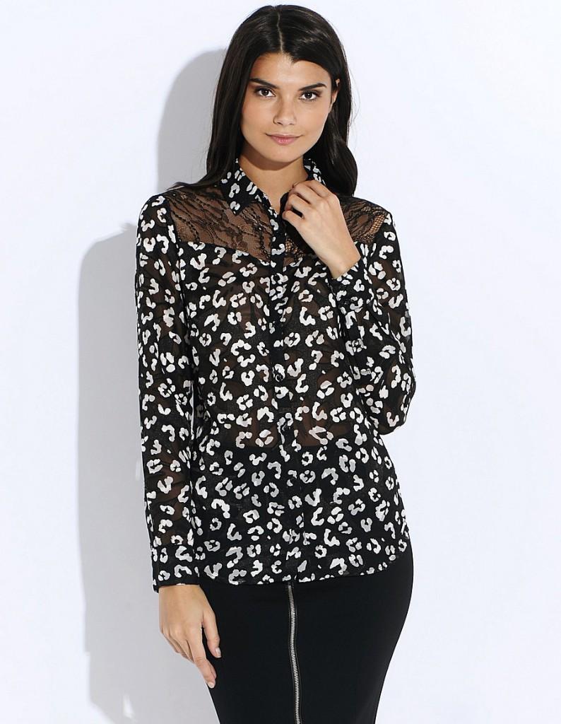 Черная женская рубашка с кружевом