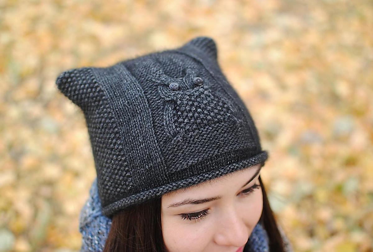 Вязаные женские шапки с ушками или завязками Вяжем с Лана Ви 100