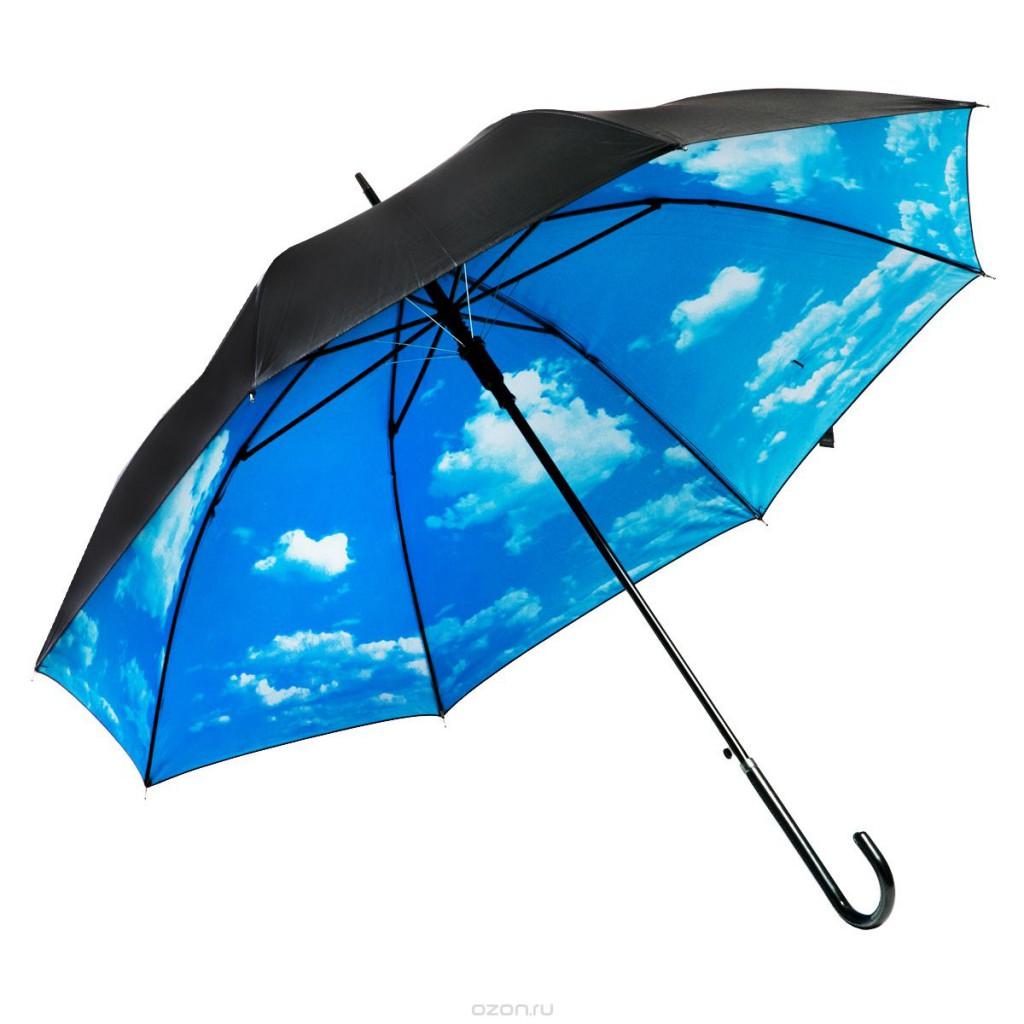 Женский зонт с изображением неба внутри