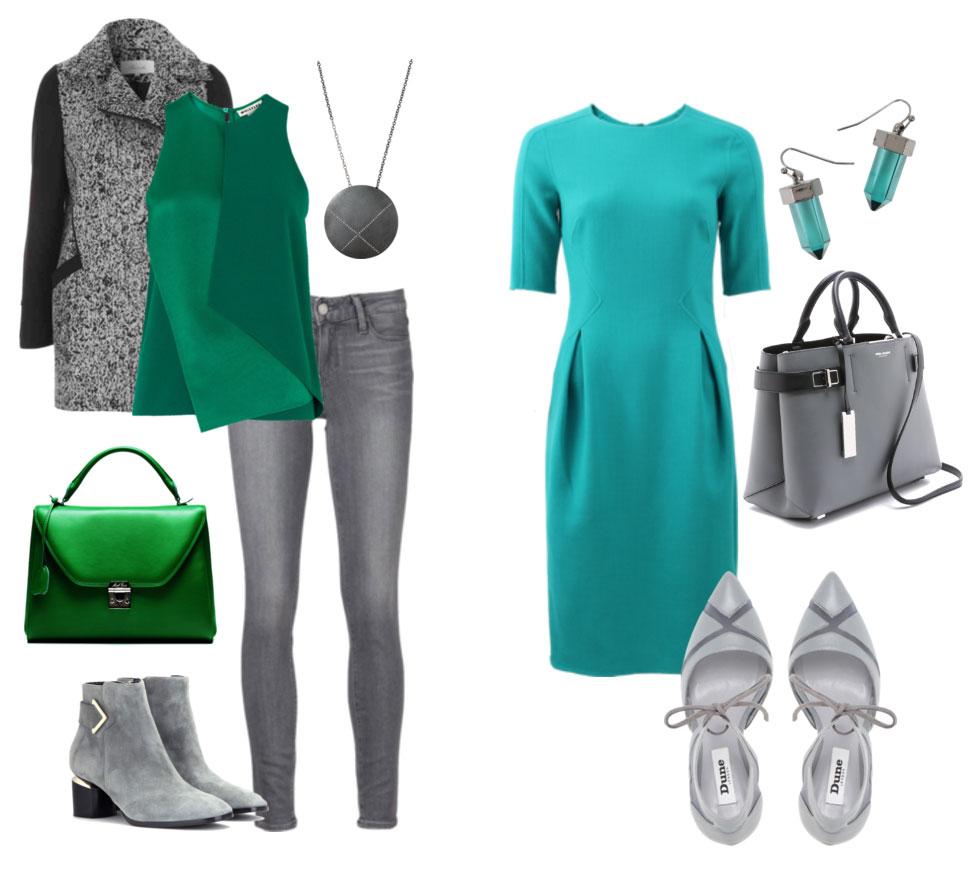 Серый и зеленый для девушки цветотипа зима