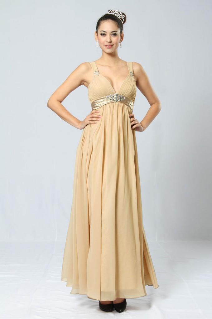 Свадебное кремовое платье с завышенной талией