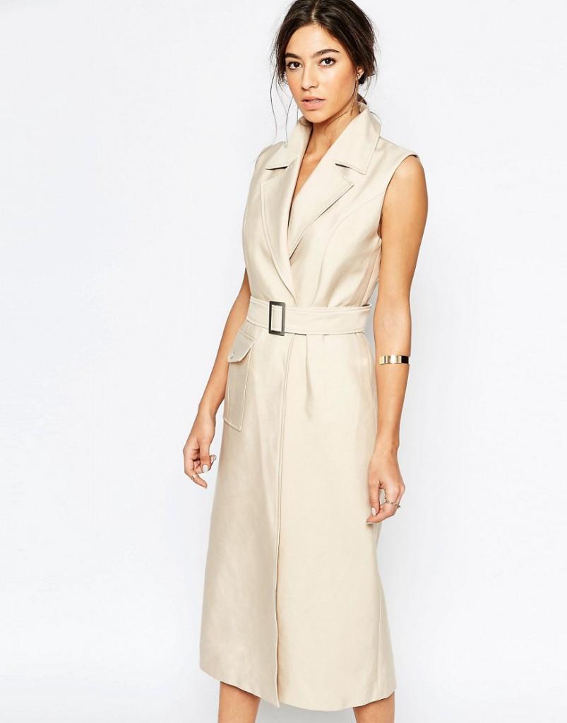 Кремовое платье без рукавов  с поясом и воротником