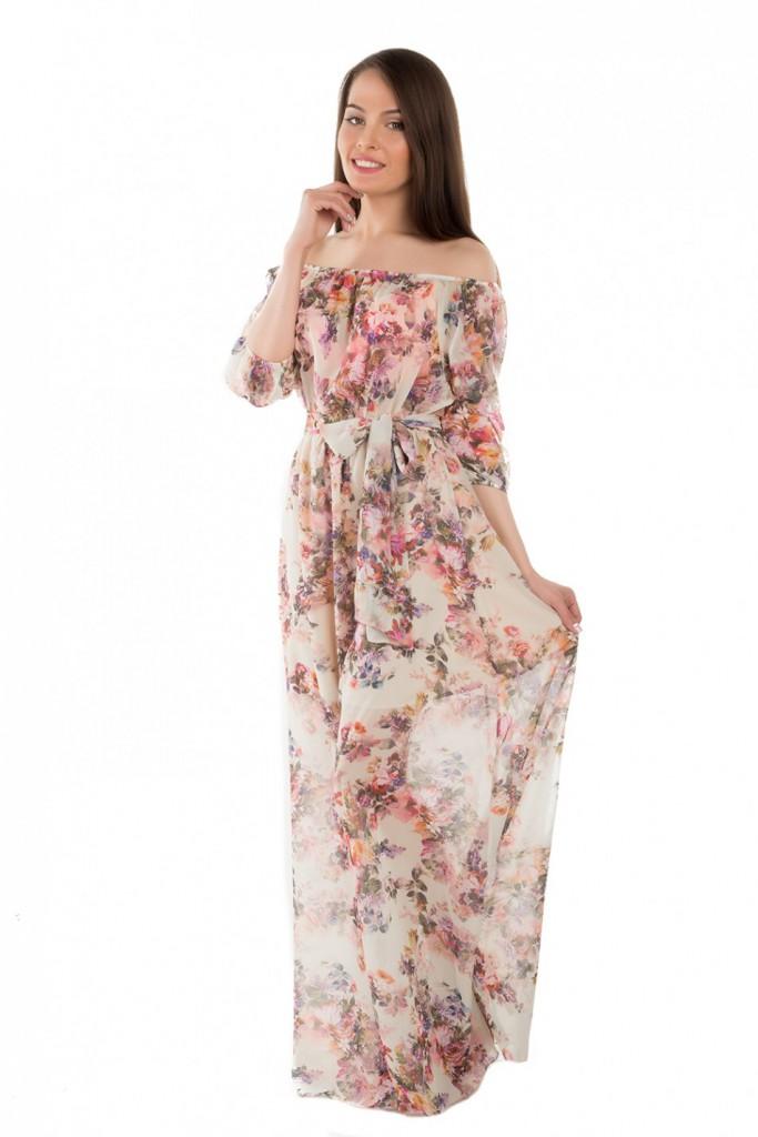 Кремовое платье в пол с цветочным принтом