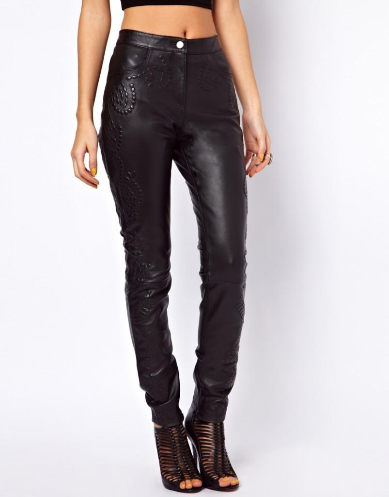Узкие кожаные женские брюки