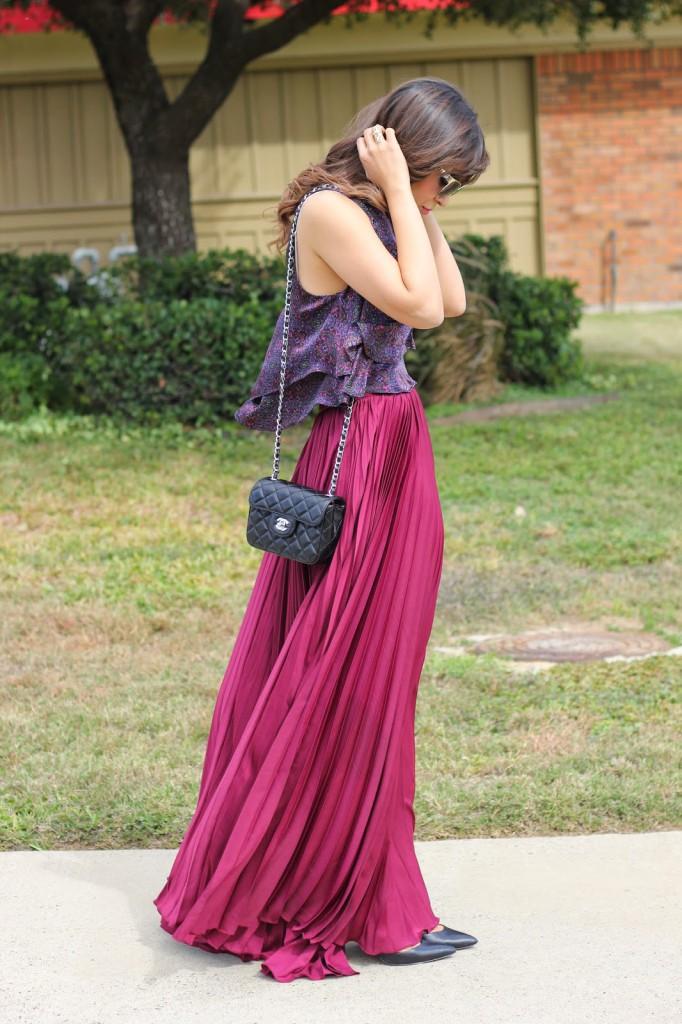 Длинная розовая юбка с блузкой