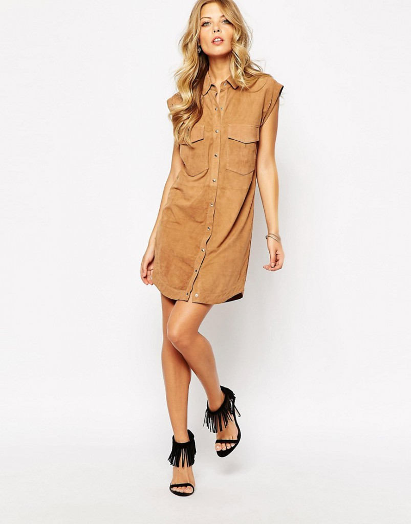 Коричневое замшевое платье рубашка